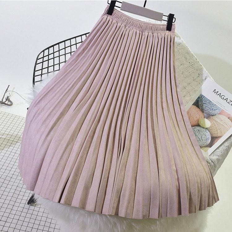 2019, двухслойная осенне зимняя женская замшевая юбка, длинная Плиссированная юбка для женщин, s Saias Midi Faldas, винтажная Женская юбка миди