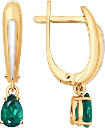 Фото «Сережки золотые с подвесками с изумрудом SOKOLOV 3020414_s»