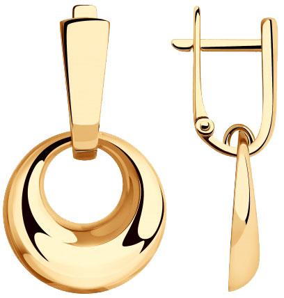 Фото «Золотые серьги круглые с подвесками SOKOLOV 028394_s»