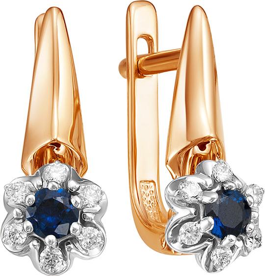 Фото «Золотые серьги Vesna jewelry 2415-151-03-00 с бриллиантами, сапфирами»