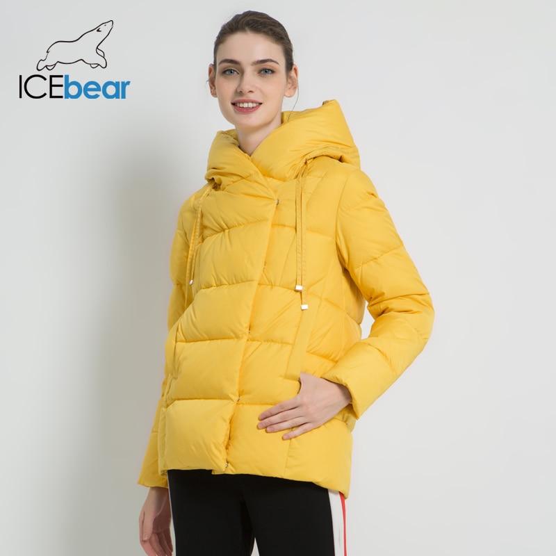 ICEbear, новинка 2019, зимнее женское пальто, брендовая одежда, повседневная женская зимняя куртка, теплая Женская короткая одежда с капюшоном GWD19011