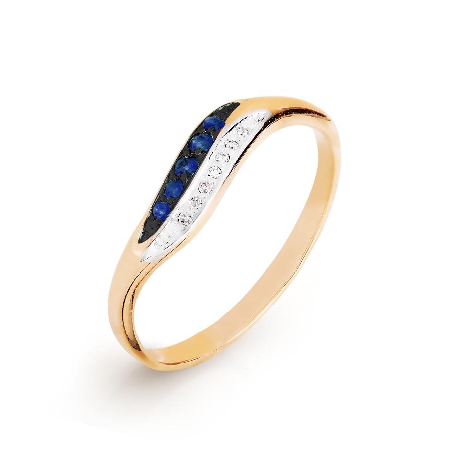 Кольцо с сапфирами и бриллиантами (арт. Т141016488)