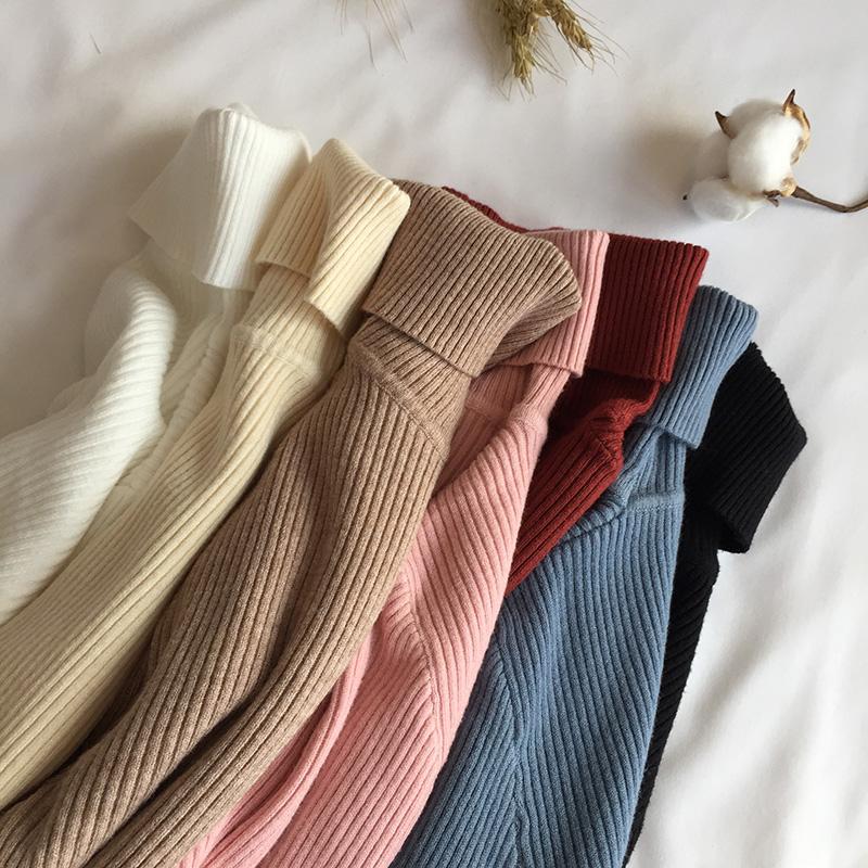 Осень зима 2019, толстый свитер для женщин, ВЯЗАННЫЙ ПУЛОВЕР в рубчик, свитер с длинным рукавом, водолазка, тонкий джемпер, мягкий теплый пуловер для женщин