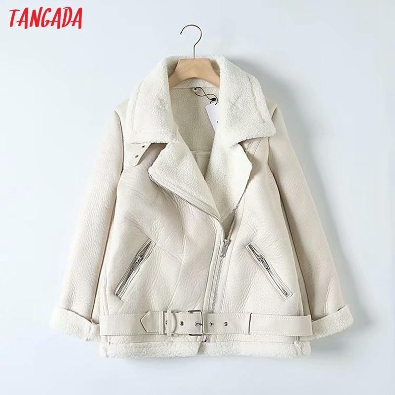 Tangada, женская бежевая Меховая куртка из искусственной кожи, пальто с поясом и отложным воротником для девушек, 2019, зимнее плотное теплое пальто большого размера 5B01 on AliExpress