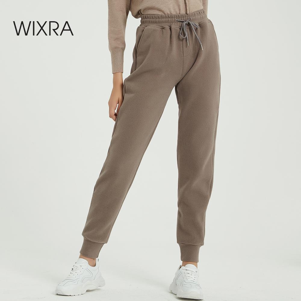 Wixra, женские повседневные бархатные штаны, Осень зима, женские плотные шерстяные штаны, женская одежда, длинные штаны на шнуровке on AliExpress